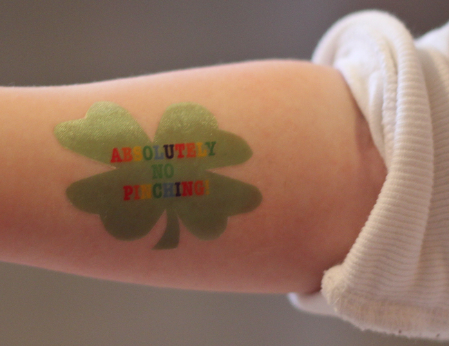 "Make your own ""absolutely no pinching"" temporary tattoos or stickers at home with the kiddos."