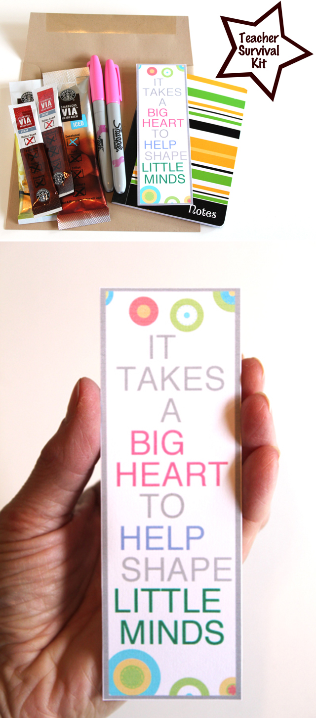 Awesome DIY Teacher appreciation kit - love the quote on the printable bookmark!