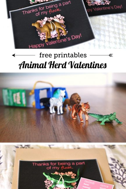 Free Printable: DIY Animal Herd Valentines