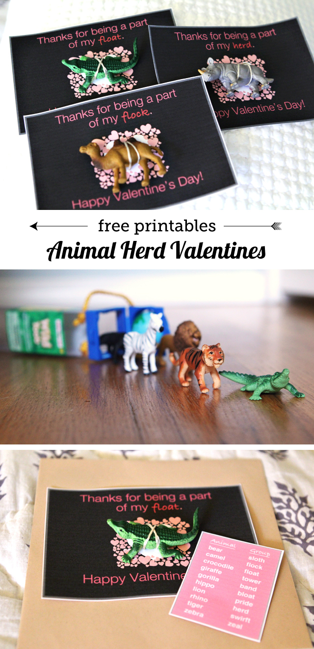 Animal Herd Valentines - my kids love the free printable that teaches them the names for different groups of animals!