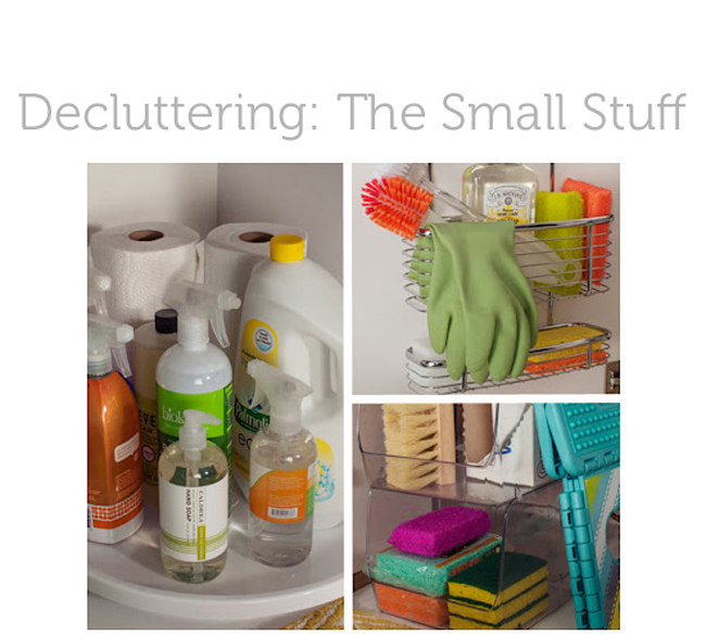 lots of ideas for decluttering the small spaces around the house