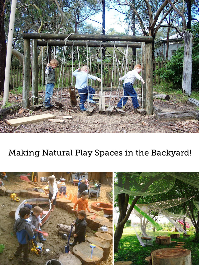 such cool ideas on how to set up a natural play space for your kids in - Backyard Space Ideas