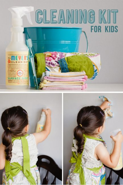 How to make a DIY Kids' cleaning kit to help teach kids responsibility and create a kids chores routine in your home.