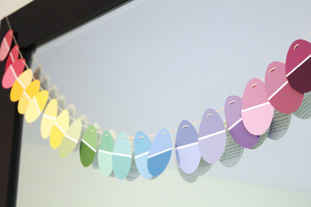 An Easy Upcycled Easter Garland Using Paint Chips
