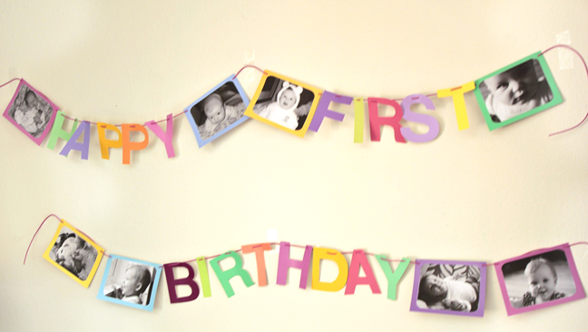 diy paint chip birthday banner modern parents messy kids