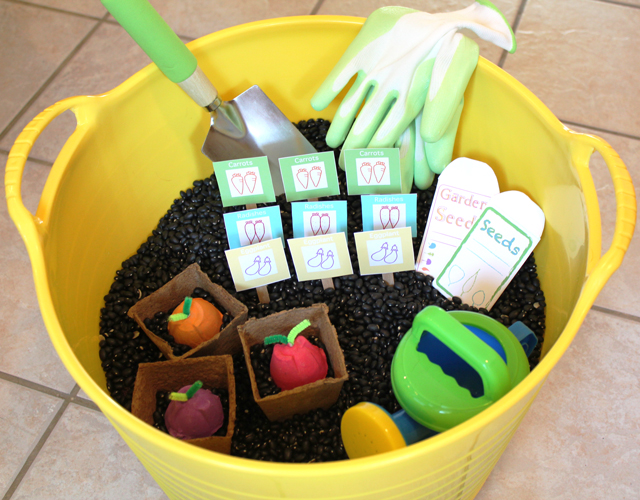 Veggie garden sensory box - the perfect Earth Day activity