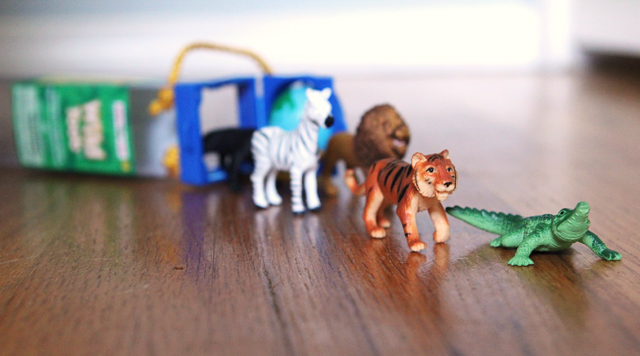 Montessori activities using plastic animals
