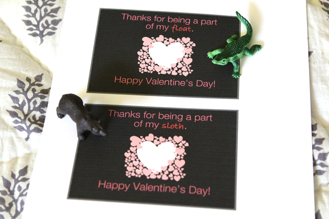 kids Valentine, free printable valentine, Valentine, Valentine's day, plastic animals