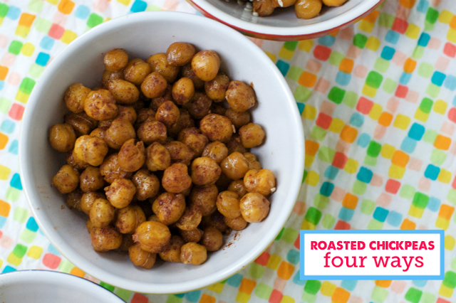 Homemade roasted chickpea snacks done 4 ways - such a great way to get some protein!