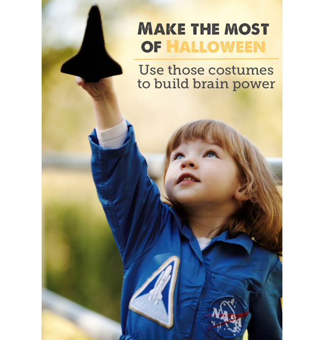How to use Halloween costumes to build brain power - love these ideas on how to take advantage of the learning opportunities of dressing up