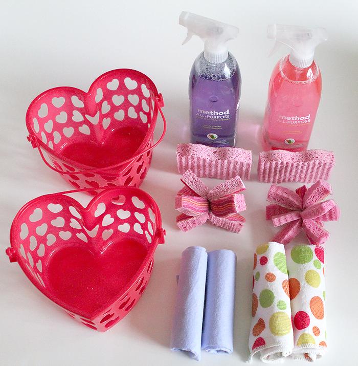 candy-free Valentine, kids cleaning kits, kids chores, Valentine baskets