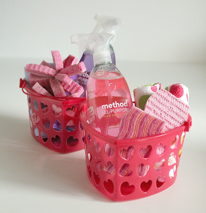 candy-free Valentine, kids cleaning kits, kids chores, Valentine baskets