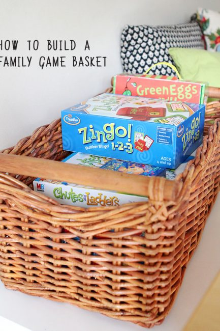 How to build a family game basket for spring - fill yours up with the best family and kid board games for the rainy days ahead!