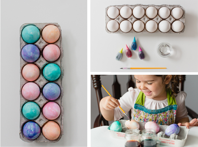 The perfect method for dying eggs with kids - allows for more creativity and less mess!