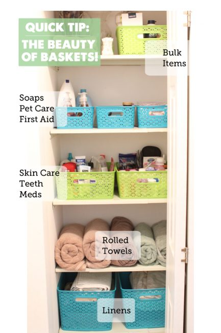 Project Organize Your ENTIRE Life Quick Tip: Baskets!