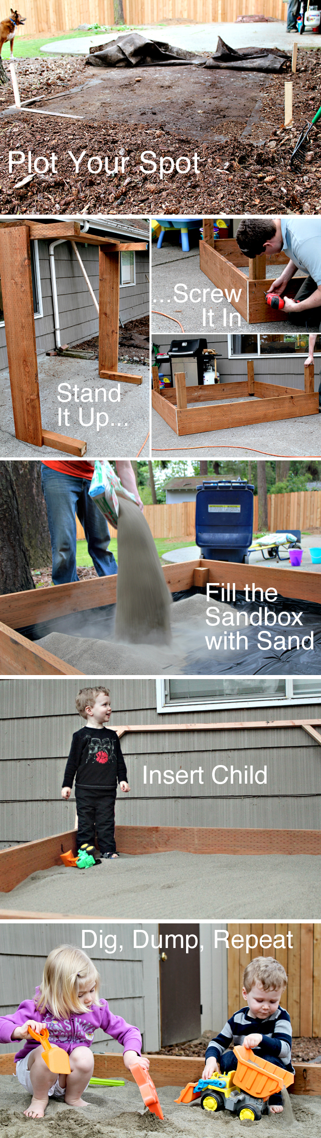 Step by step instructions on how to build a sandbox the kids will play with for hours!