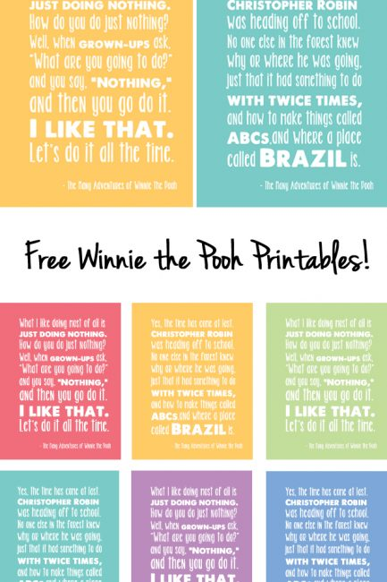"Celebrating ""The Many Adventures of Winnie the Pooh"" with Free Printables!"