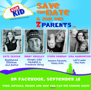Come chat with us! Wednesday, Sept. 19th at noon EST on the Clif Kid Facebook wall!
