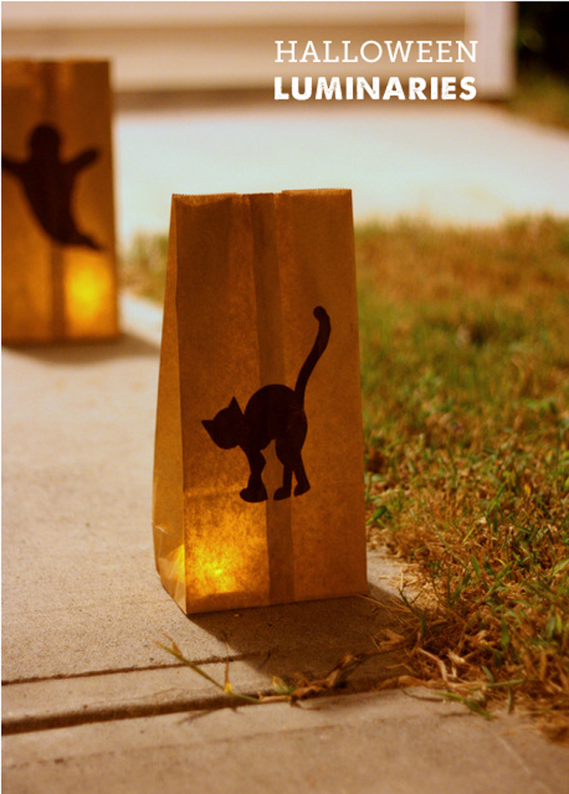 simple paper bag halloween luminaries - perfect project to make with kids