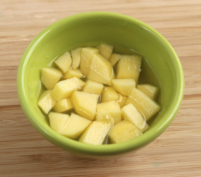 Soak apple in pineapple juice to keep it from browning