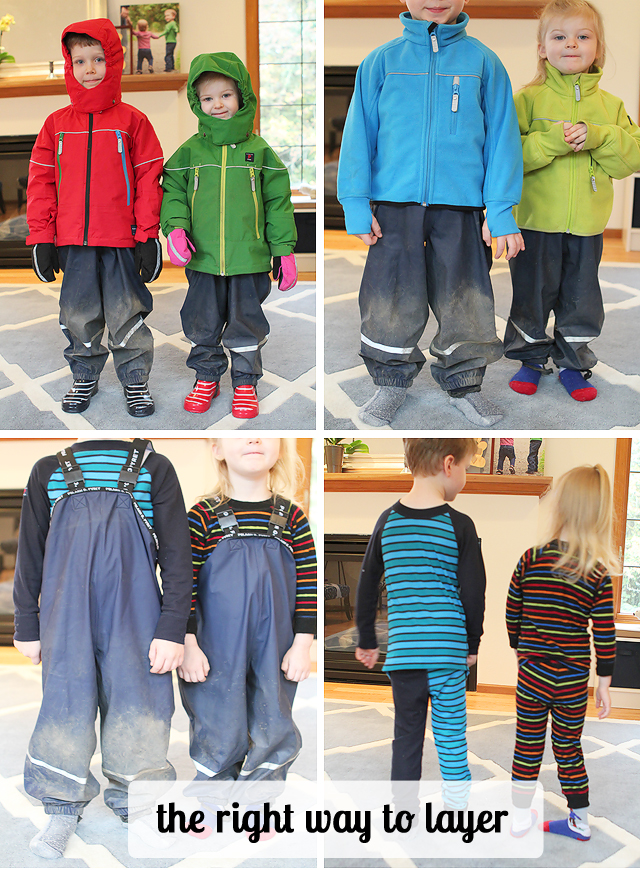 "The right way to layer clothes for bad weather aka ""how to dress the kids for anything"""