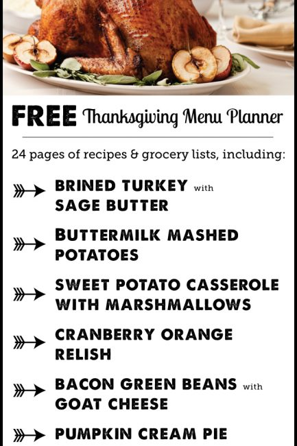 Free Printable: Thanksgiving planner with full menu & shopping list plus an hour-by-hour cooking and prep guide. (Love the suggested wines too!)