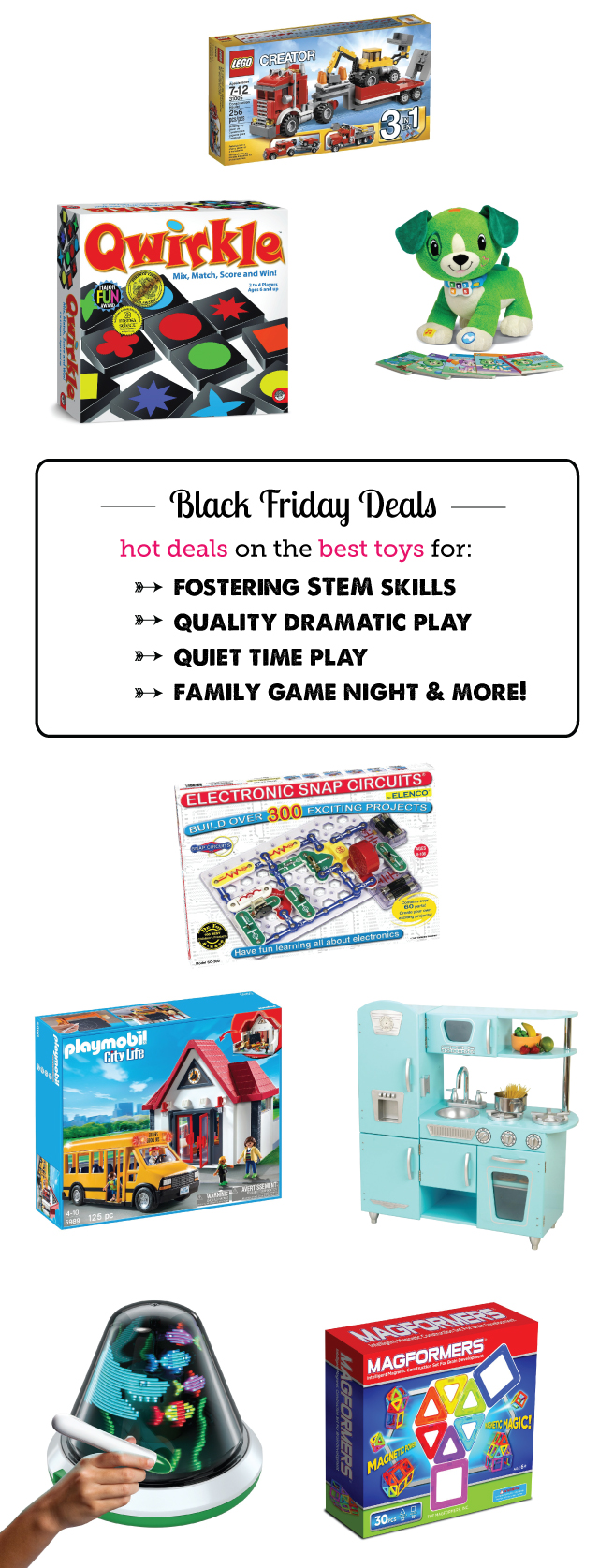 The best Black Friday deals from the 250+ toys picked for MPMK's 2013 Ultimate Toy Gift Guide - excellent toy descriptions and age rages here. I esp. love the STEM and quiet time toy picks!