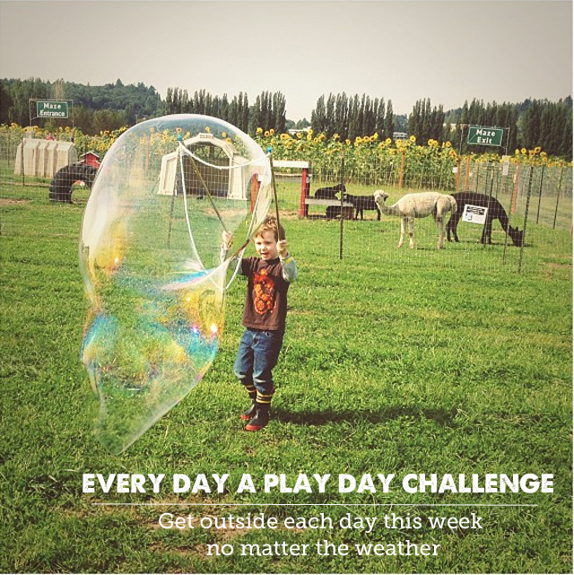 Tips on how to challenge yourself to get outside to play with the kids every day for a week no matter what - Since first participating in this a few years ago, our attitude towards outside play has changed so much!