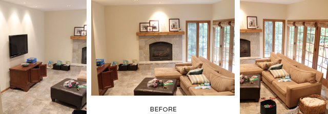 Before: Our boring beige family room