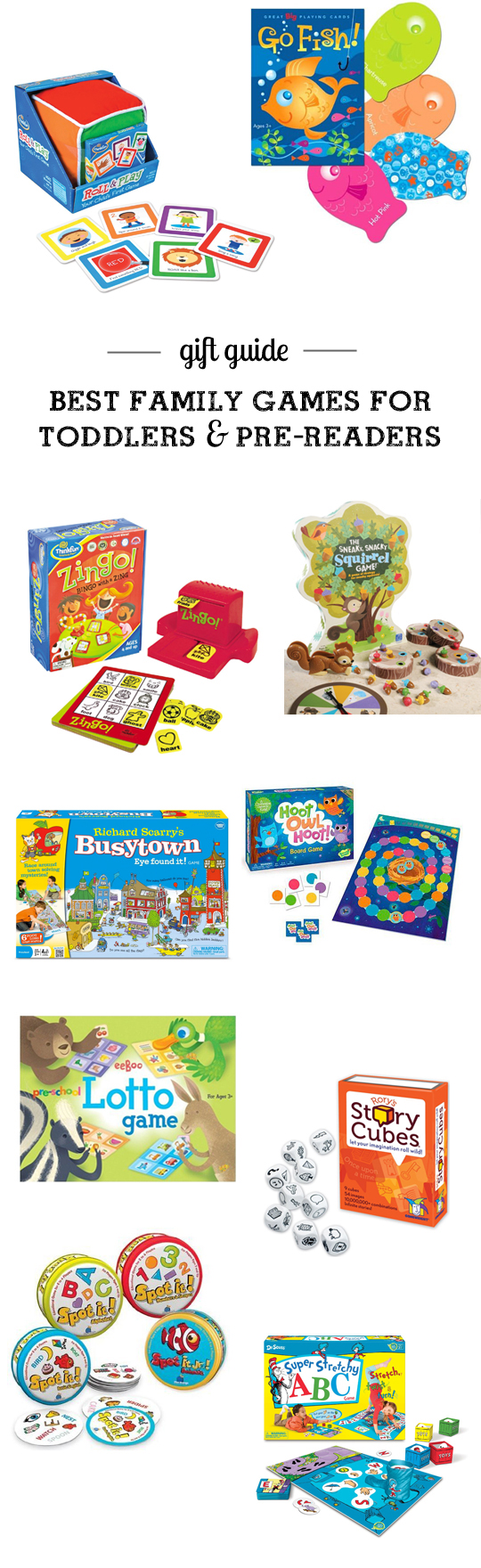 MPMK Toy Gift Guide: Best kid games to start a family game night with toddlers and pre-readers - Really appreciate the detailed reviews and useful age recommendations in this gift guide.