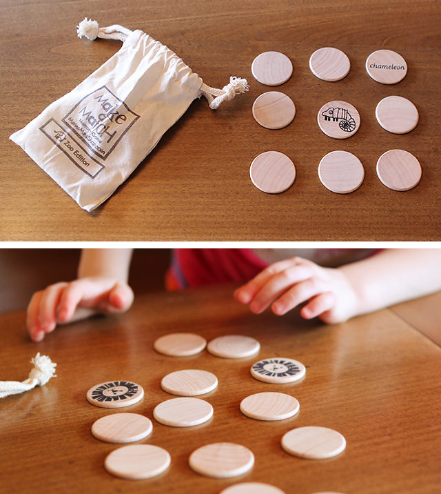 Handmade wooden memory game - perfect for travel