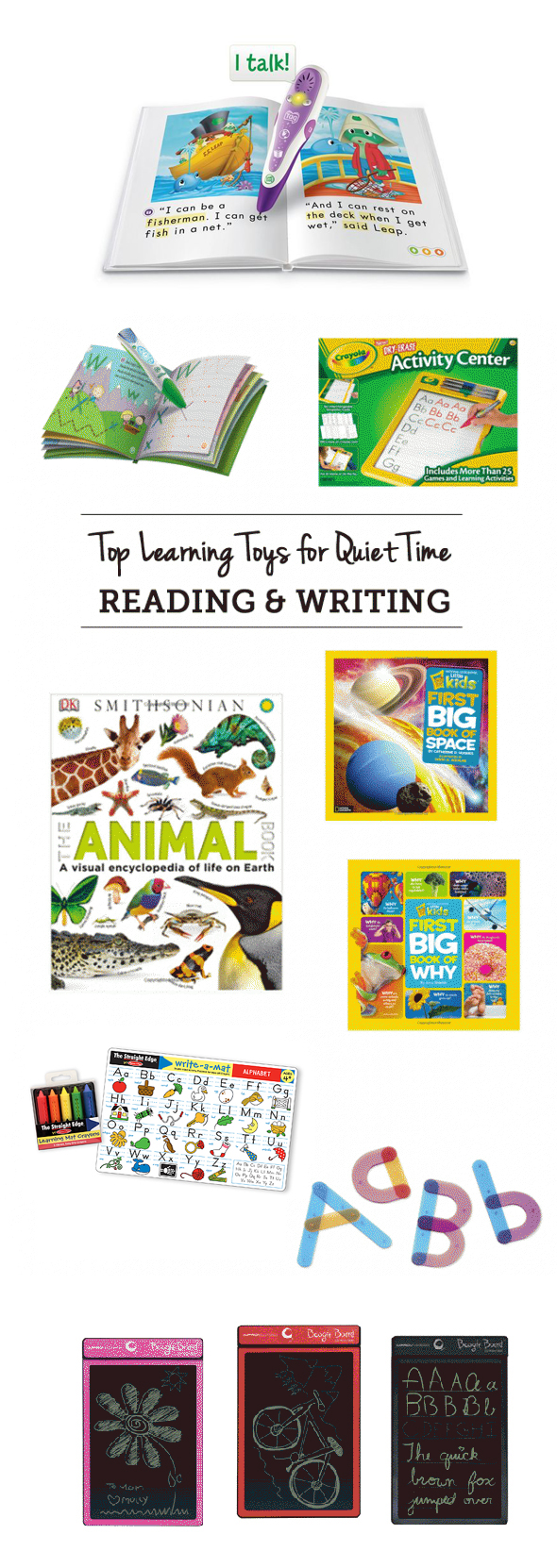 MPMK Gift Guide: Quiet Time Toys- The best picks for practicing reading and writing during quiet time - great ideas so mom can get stuff done or spend some one on one time with a sibling