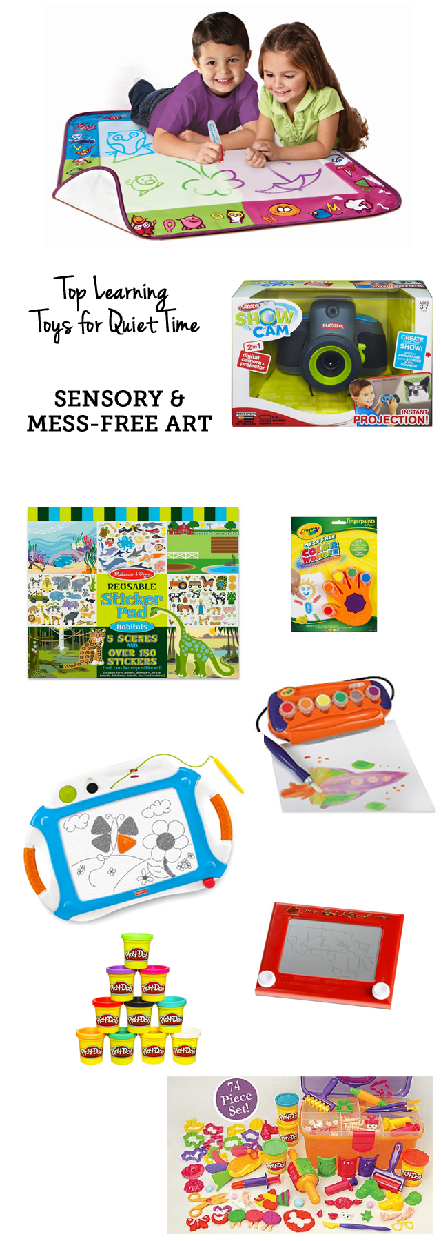 Top learning toys for quiet time: mess-free art supplies - Perfect when you need to cook dinner, do laundry, etc.!