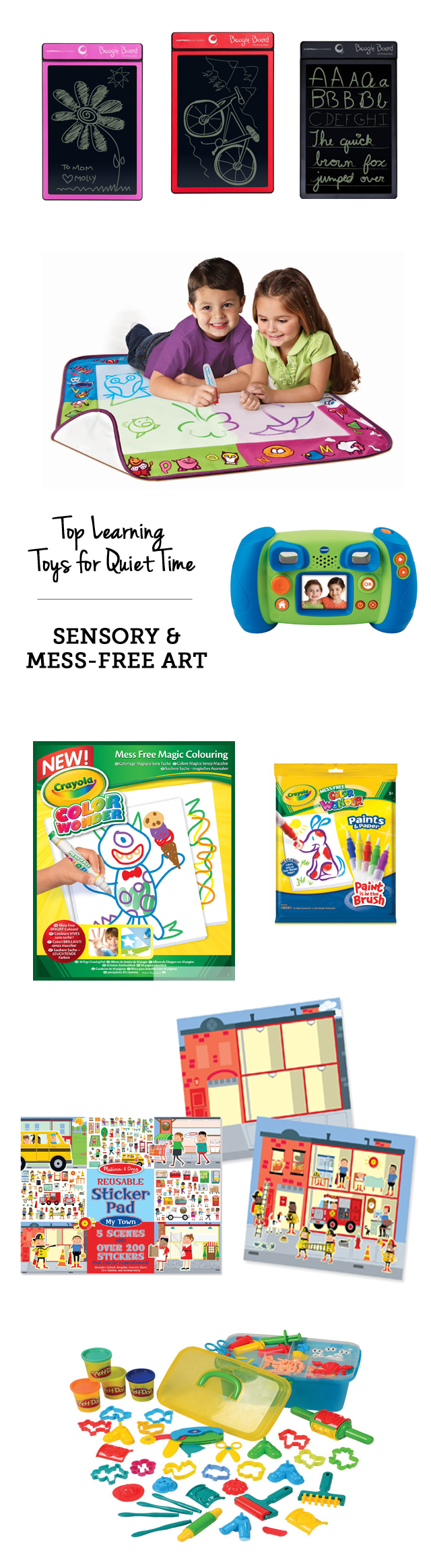 MPMK Toy Gift Guide: Top learning toys for quiet time: mess-free art supplies - Perfect when you need to cook dinner, do laundry, etc.!