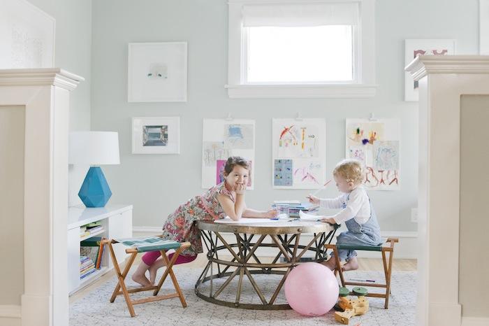 Playroom by Emily Henderson using FLOR vintage vibe custom carpet tiles.