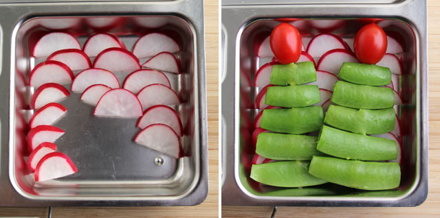 Layer sliced radishes in the bento box, then top with the trees.