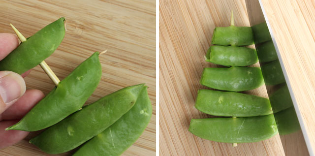Thread sugar snap peas onto a bamboo skewer, then trim the ends to make a tree shape.