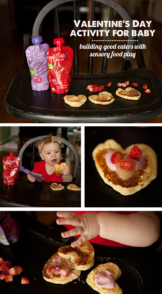 A fun Valentine's Day activity for baby - letting them decorate their own pancakes with healthy ingredients.  Plus an easy pancake recipe kids love. #sponsored