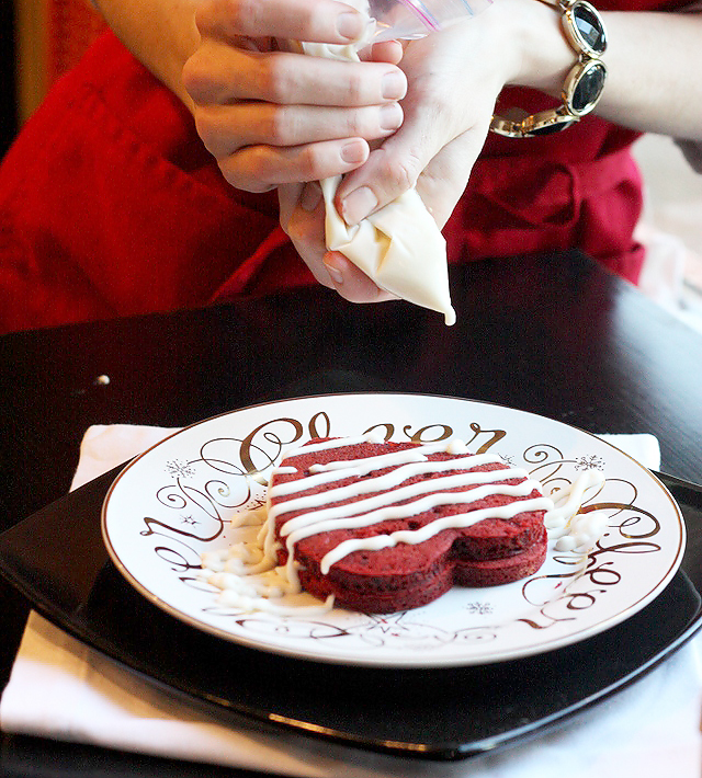 Red Velvet Pancakes with cream cheese drizzle. Perfect for Valentine's Day!