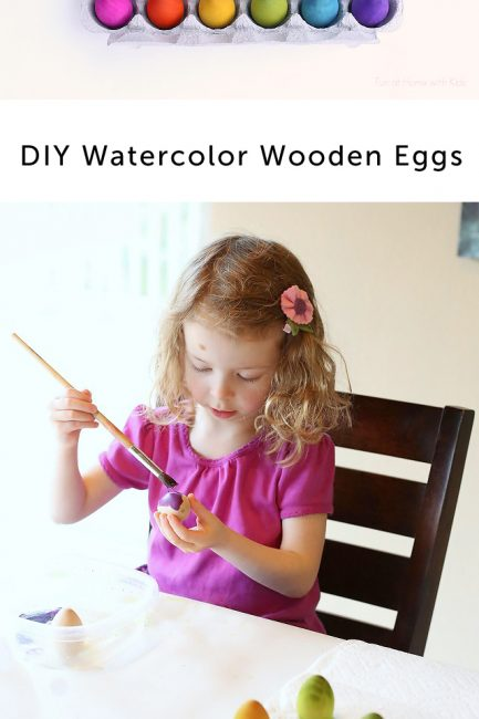 Simple DIY Watercolor Wooden Eggs for the Easter Basket