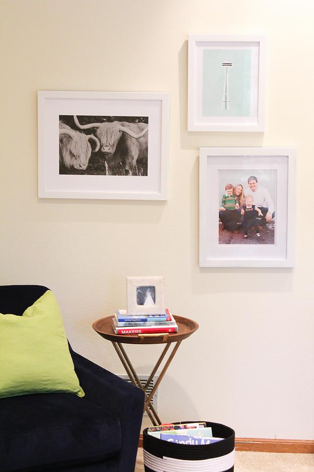 how to arrange art, leaning art, Minted Art, art on a mantle