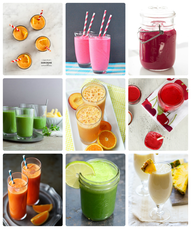 Colorful smoothies and juices to kick the winter blues - Such a great list to have on hand. My 3 year old is currently loving #6, beets and all!