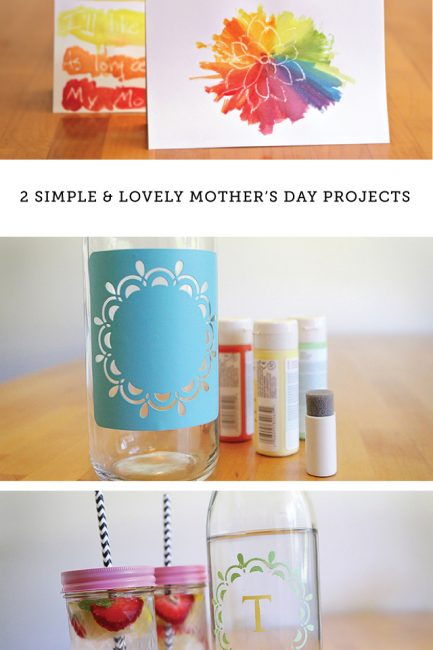 DIY Mother's Day Watercolor Card and Vintage Glassware Set