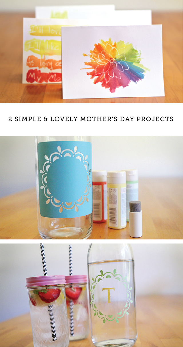 Diy Mother 39 S Day Watercolor Card And Vintage Glassware Set