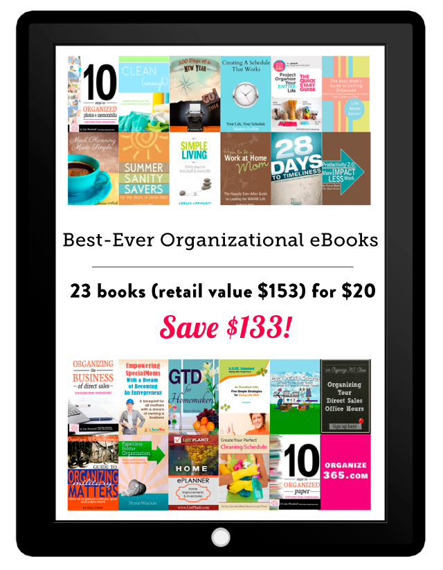 23 awesome organizational products (including printables and an online class) bundled together for only $20 - an 87% discount!