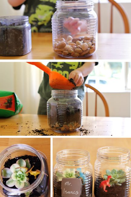 Making terrariums with kids - change up what you add to this fun gardens according to the occasion - Earth Day, Teacher Appreciation Day, Mother's Day, Father's Day, etc.