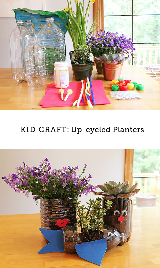 Making Up-cycled Planters for Earth Day - My kids are gonna love cutting apart the bottles and adding the goggley eyes