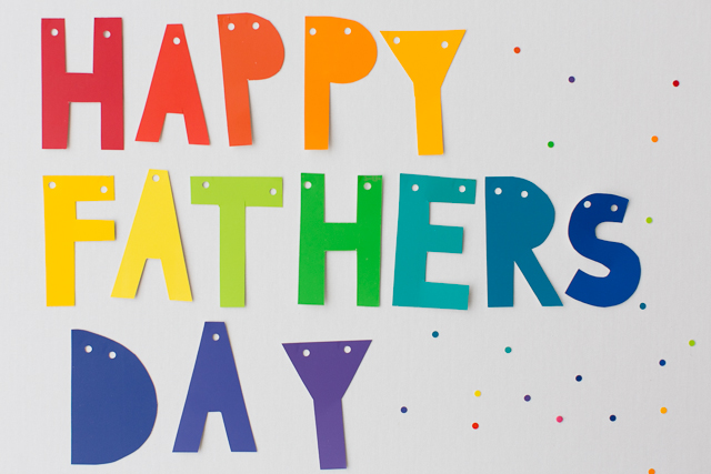 DIY Rainbow Fathers Day Banner - My kids would LOVE to make this!