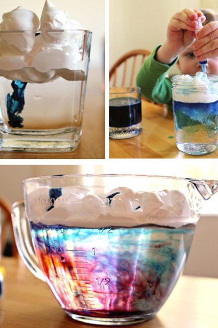 make rain clouds in your kitchen and other color mixing activities
