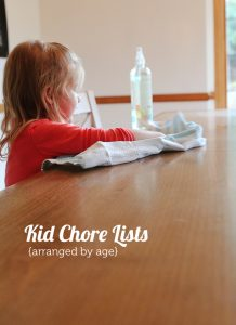 kids chore lists by age